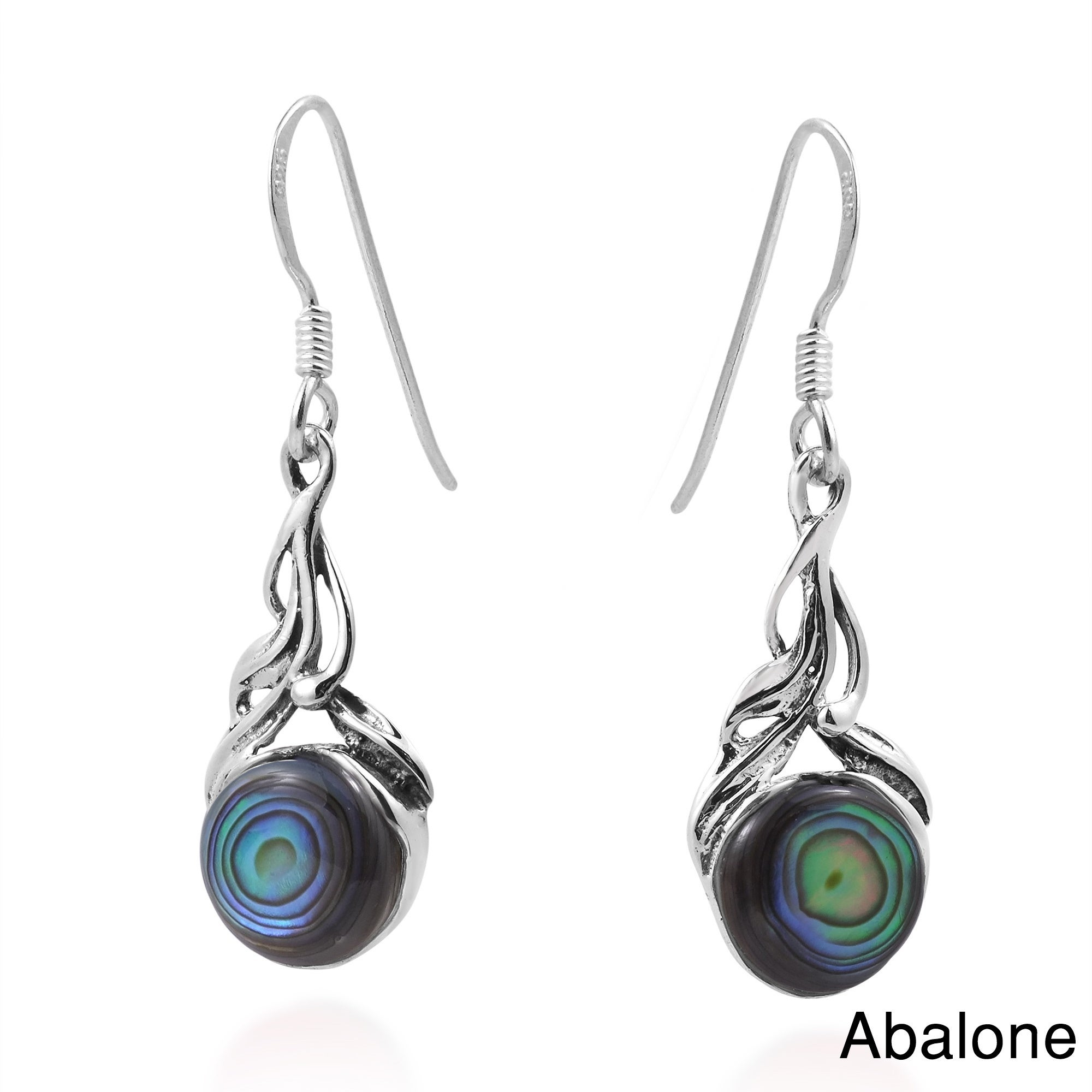 15c64b3d1 Handmade Precious Orb Natural Stone Sterling Silver Dangle Earrings  (Thailand)
