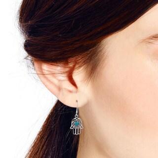 Swirl Hamsa Hand Natural Stone Center .925 Silver Earrings (Thailand)