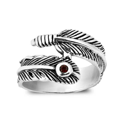 Handmade Tribal Spirit Feather Wrap Cubic Zirconia .925 Sterling Silver Ring (Thailand)
