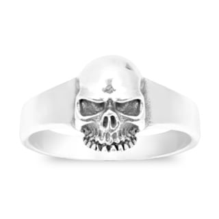 Handmade Fierce Immortal Skull .925 Sterling Silver Ring (Thailand)
