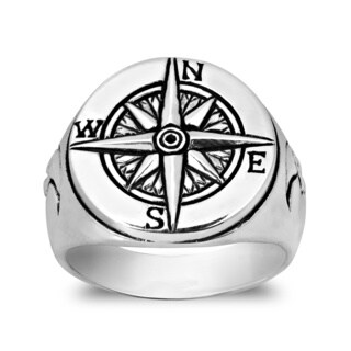 Handmade Celestial Half Moon Compass Sterling Silver Ring (Thailand)