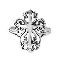 Handmade Victorian Swirl Cross Hidden Heart Sterling Silver Ring (Thailand)