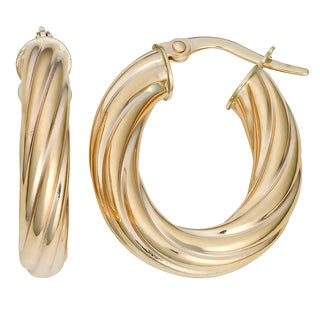 Fremada Italian 14k Yellow Gold High Polish Twist Design Oval Hoop Earrings