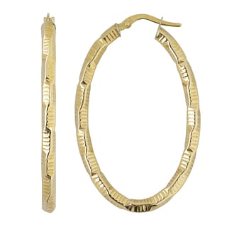 Fremada Italian 14k Yellow Gold Diamond-cut 1.7-inch Oval Hoop Earrings