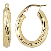Fremada Italian 14k Yellow Gold High Polish Twist Design Oval Hoop Earrings