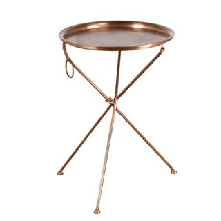 Handmade Large Collapsible Cocktail Tray Table - Copper (India)