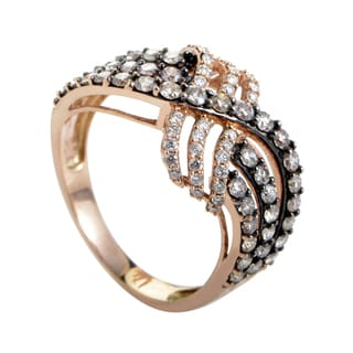 LeVian Women's 14K Rose Gold White & Brown Diamond Crossed Band Ring