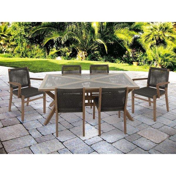 Modern 7-Piece Glass and Acacia Wood Dining Set by Studio 350