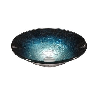 Legion Furniture Metallic Multi Blue/Silver Glass Vessel Sink Bowl