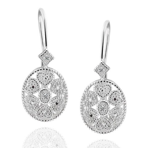 Sterling Silver Round Diamond Accent Leverback Earrings (China)