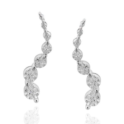 Sterling Silver Diamond Accent Journey Stud Earrings (China)