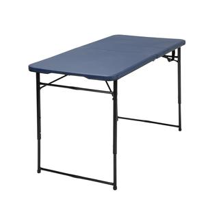 COSCO 4-foot Indoor/ Outdoor Adjustable Height Center Fold Dark Blue Tailgate Table with Carrying Handle