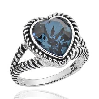 Sterling Silver Genuine Crystal Heart Solitaire Ring (China)