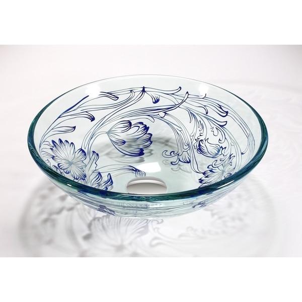 Legion Furniture Translucent, Blue Vessel Sink Bowl