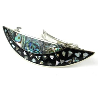 Handmade Alpaca Silver and Abalone Shell Arc Barrette - Artisana Jewelry (Mexico)