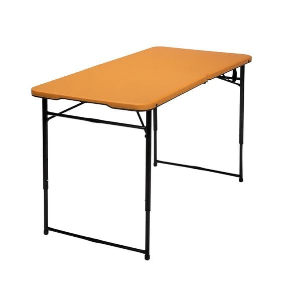 COSCO 4-foot Indoor/ Outdoor Adjustable Height Center Fold Orange Tailgate Table with Carrying Handle