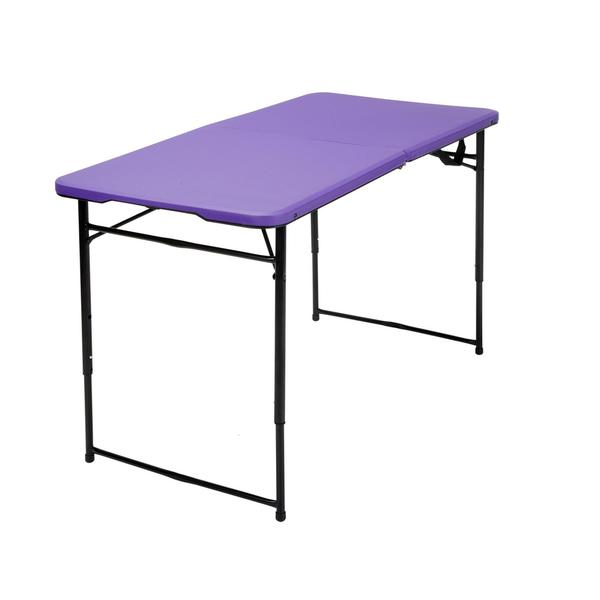 COSCO 4 ft. Indoor/ Outdoor Adjustable Height Center Fold Tailgate Table with Carrying Handle