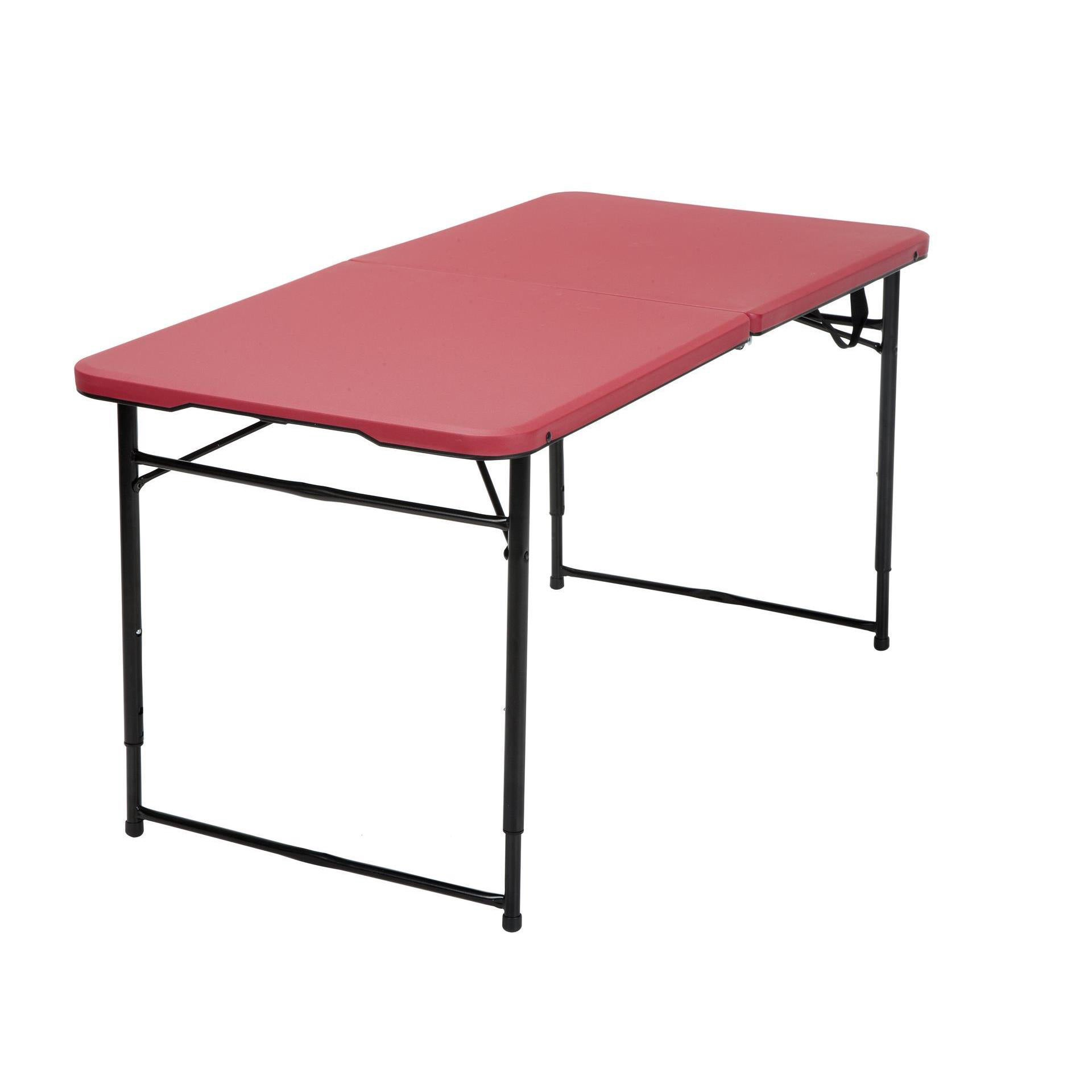 Folding Table With Handle.Cosco 4 Ft Indoor Outdoor Adjustable Height Center Fold Tailgate Table With Carrying Handle