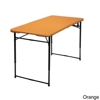 COSCO 4 ft. Indoor/ Outdoor Adjustable Height Center Fold Tailgate Table with Carrying Handle (Option: Purple)