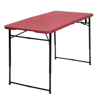 COSCO 4-foot Indoor/ Outdoor Adjustable Height Center Fold Red Tailgate Table with Carrying Handle