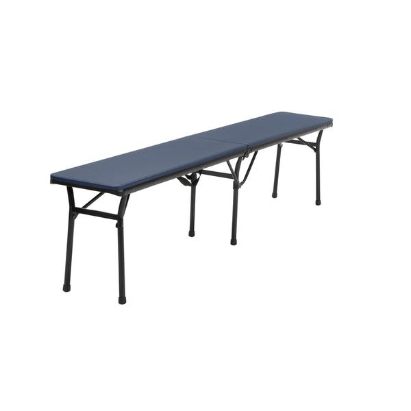 COSCO 6-foot Indoor/ Outdoor Center Fold Dark Blue Tailgate Bench with Carrying Handle