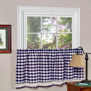 Buffalo Check Polyester Blend Tier Curtain Panels (1 Pair)