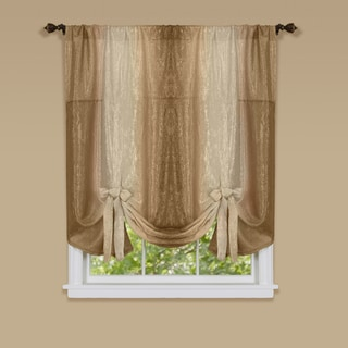 Ombre Multicolored Polyester Window Curtain with Tie Up Shade