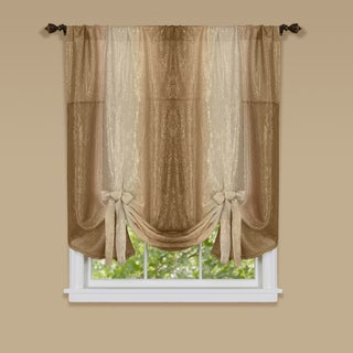 Achim Ombre Multicolored Window Curtain with Tie Up Shade