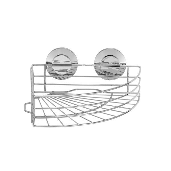 Everloc Push N' Loc Stainless Steel Suction Cup Corner Basket
