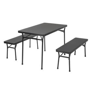 COSCO 3-piece Indoor/ Outdoor Black Table and 2 Bench Tailgate Set