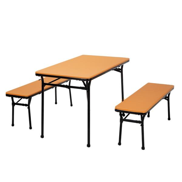 COSCO 3-piece Indoor/ Outdoor Orange Table and 2 Bench Tailgate Set