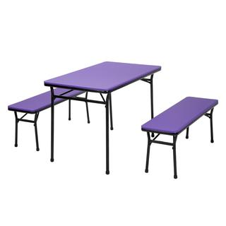 COSCO 3-piece Indoor/ Outdoor Purple Table and 2 Bench Tailgate Set