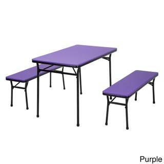 COSCO 3-piece Indoor/ Outdoor Table and 2 Bench Tailgate Set