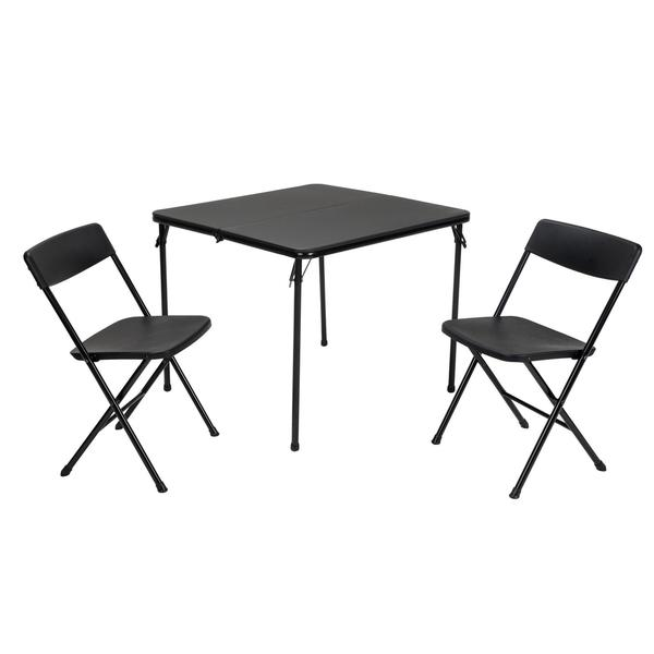 COSCO 3-piece Indoor/ Outdoor Center Fold Black Table and 2 Chairs Tailgate Set