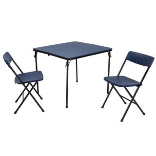 COSCO 3-piece Indoor/ Outdoor Center Fold Dark Blue Table and 2 Chairs Tailgate Set