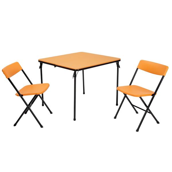 COSCO 3-piece Indoor/ Outdoor Center Fold Orange Table and 2 Chairs Tailgate Set