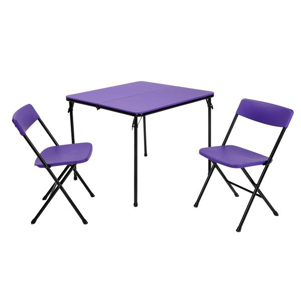 COSCO 3-piece Indoor/ Outdoor Center Fold Purple Table and 2 Chairs Tailgate Set