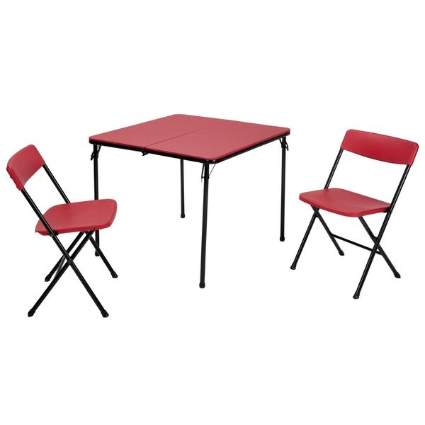 COSCO 3-piece Indoor/ Outdoor Center Fold Table and 2 Chairs Tailgate Set