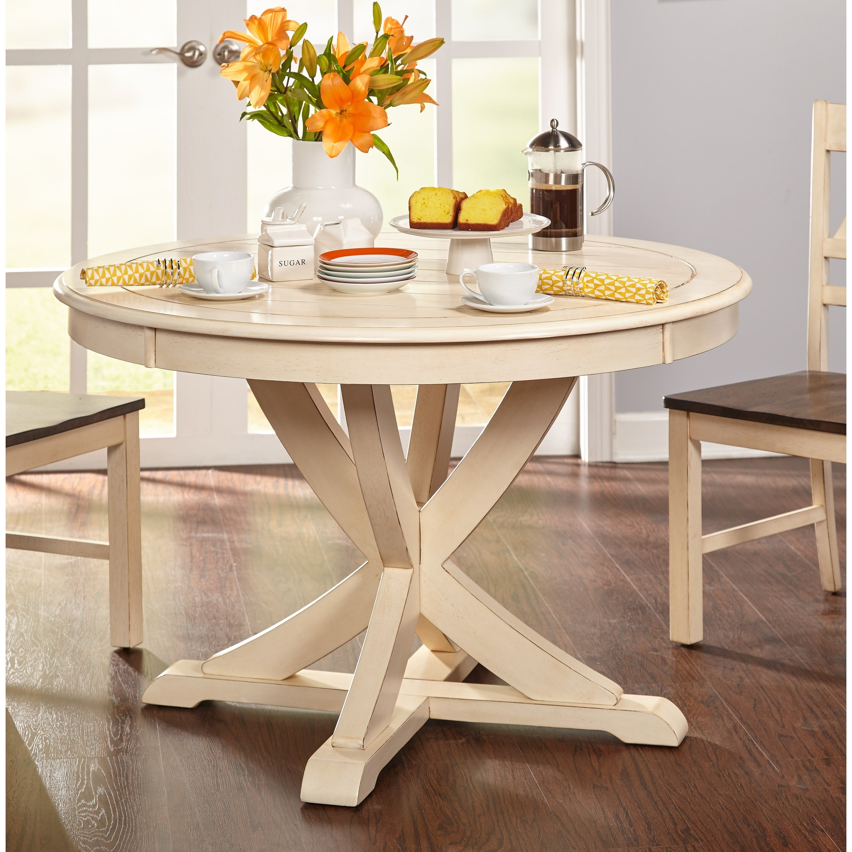Simple Living Alexa Round Antique White Pedestal Dining Table ...