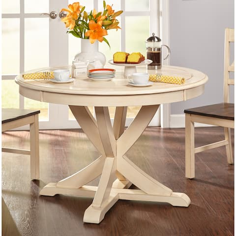 Buy country kitchen dining room tables online at overstock simple living vintner country style antique white round dining table antique white watchthetrailerfo