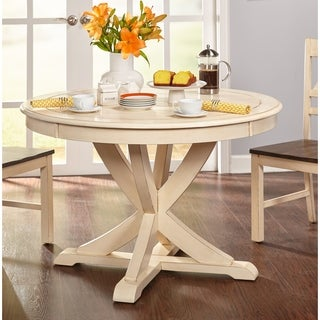 Simple Living Vintner Country Style Antique White Round Dining Table    Antique White