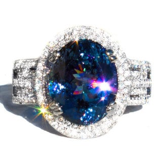 18k White Gold Tanzanite and 5/8ct TDW Diamond Ring Size 6.5 (G-VS)