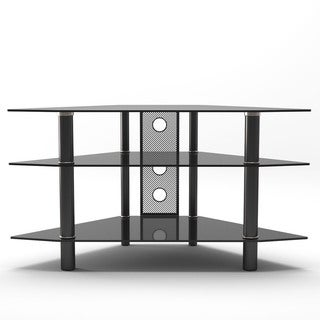Gibson Living Ruby 44-inch Black Glass Corner TV Stand