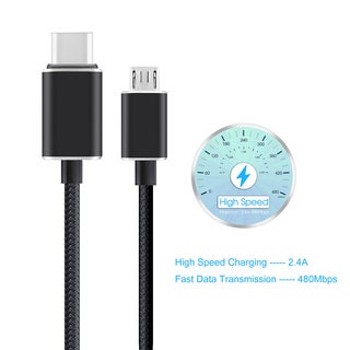 Type-C to Micro USB Braided Cable with Reversible Connector for New Macbook 12-inch and Other Devices with Type-C Connector