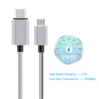 Type C to Micro USB Braided Cable with Reversible Connector for New MacBook 12-inch and Other Devices with Type-C Connector