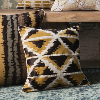 Printed Gold Multi Geometric Abstract Feather and Down Filled or Polyester Filled 18-inch Throw Pillow or Pillow Cover