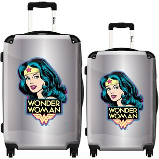 iKase 'Wonder Woman Silver Background' 2-piece Fashion Harside Spinner Luggage Set
