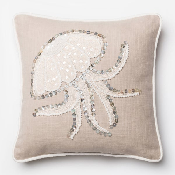 Button Applique Beige Jellyfish Throw Pillow or Pillow Cover 18 x 18