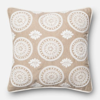 Embroidered Lace Cotton Beige/ White Feather and Down Filled or Polyester Filled 18-inch Throw Pillow or Pillow Cover