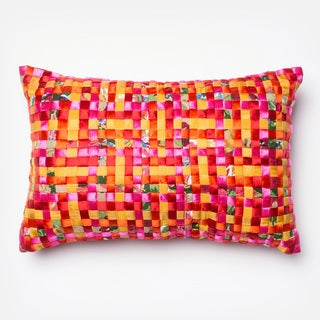 Basket Weave Pink/ Orange Feather and Down Filled or Polyester Filled 13 x 21 Lumbar Throw Pillow or Pillow Cover
